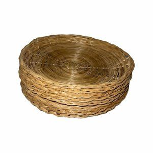 8 Vintage Wicker Ratan Bamboo Paper Plate Holder